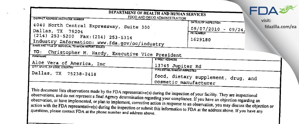 Aloe Vera of America FDA inspection 483 Sep 2010