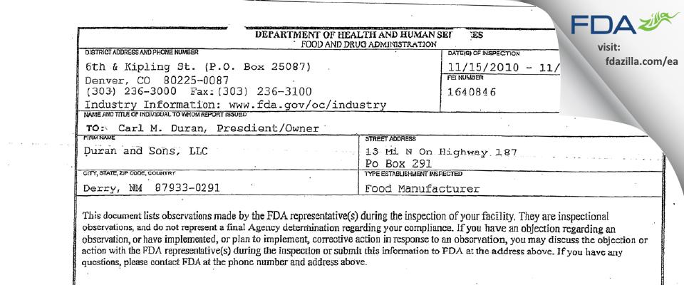 Duran and Sons FDA inspection 483 Nov 2010