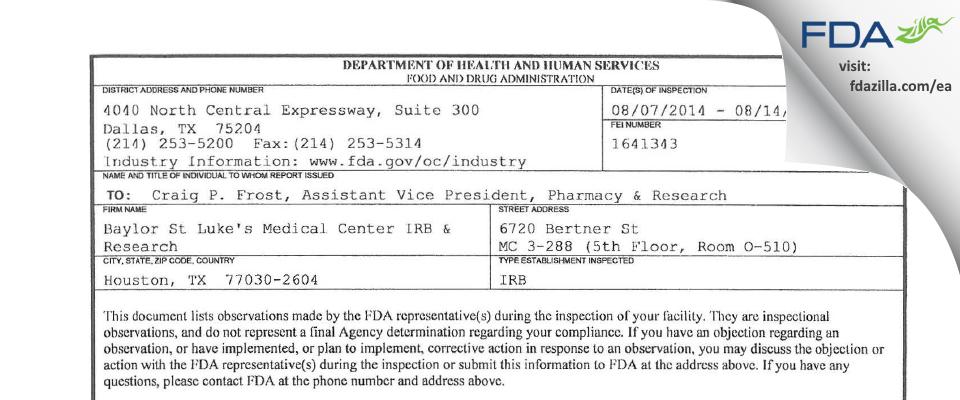 Baylor St Luke's Medical Center IRB & Research FDA inspection 483 Aug 2014