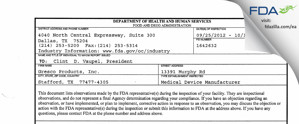 Gresco Products FDA inspection 483 Oct 2012