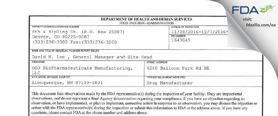 OSO BioPharmaceuticals Manufacturing FDA inspection 483 Dec 2016