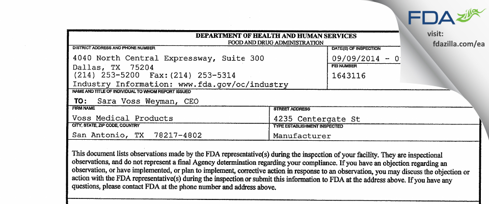 Voss Medical Products FDA inspection 483 Sep 2014