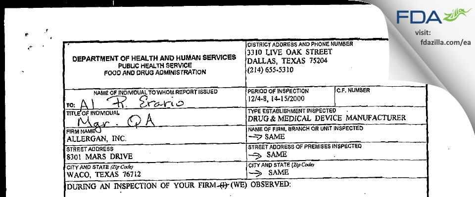 Allergan Sales FDA inspection 483 Dec 2000