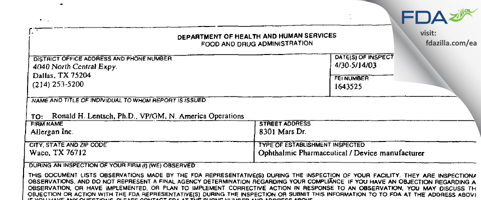 Allergan Sales FDA inspection 483 May 2003