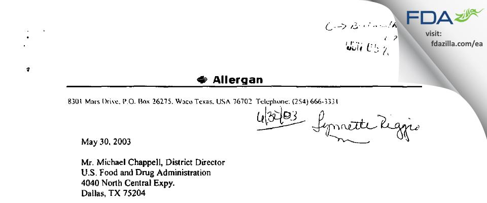 Allergan Sales FDA inspection 483 May 2003