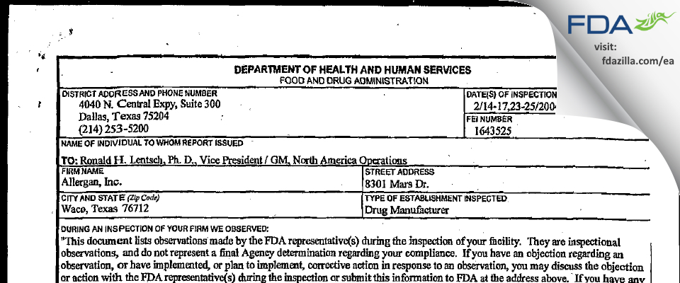 Allergan Sales FDA inspection 483 Feb 2004