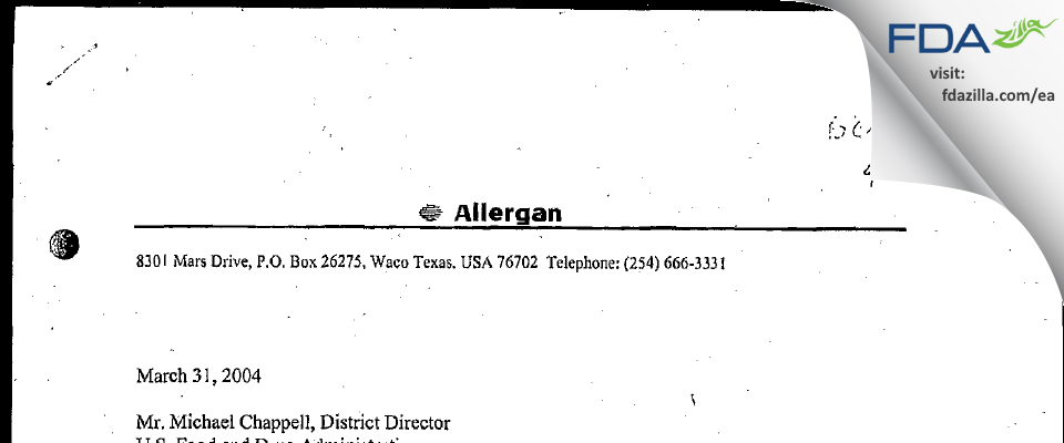 Allergan Sales FDA inspection 483 Feb 2004