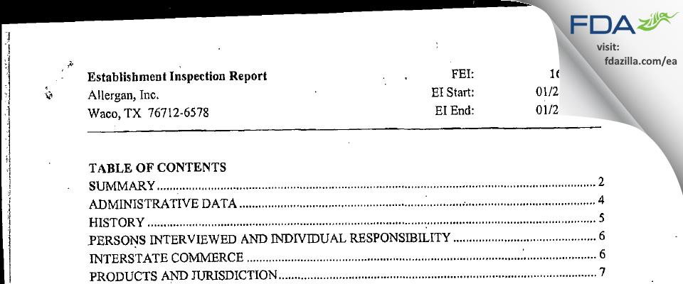 Allergan Sales FDA inspection 483 Jan 2005