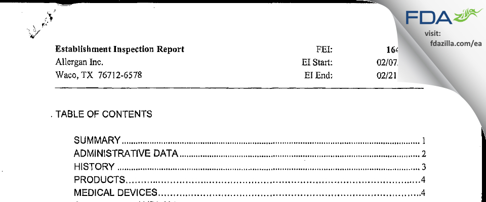Allergan Sales FDA inspection 483 Feb 2006