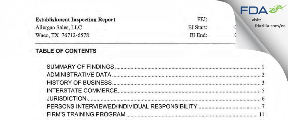 Allergan Sales FDA inspection 483 Mar 2011