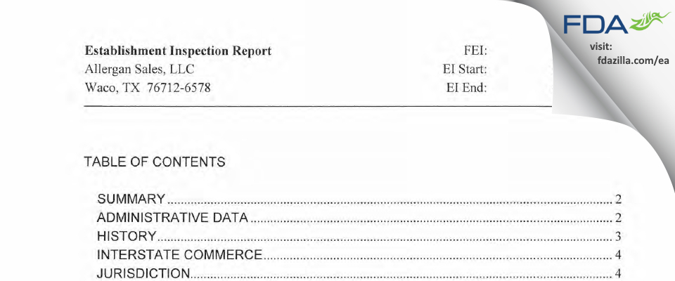 Allergan Sales FDA inspection 483 Apr 2012