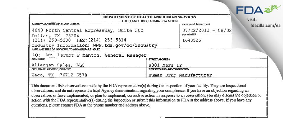 Allergan Sales FDA inspection 483 Aug 2013