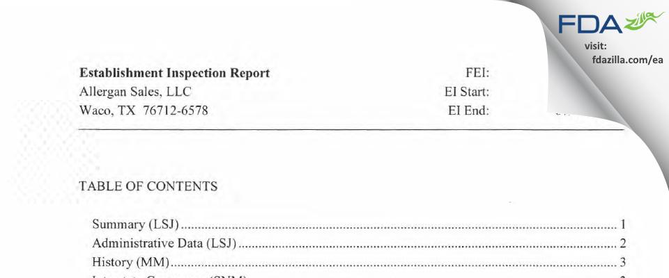 Allergan Sales FDA inspection 483 Jul 2015