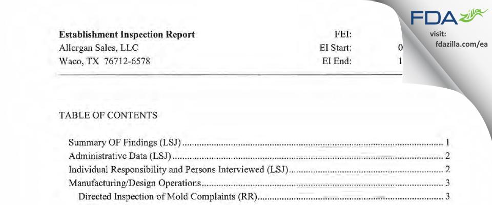 Allergan Sales FDA inspection 483 Oct 2015