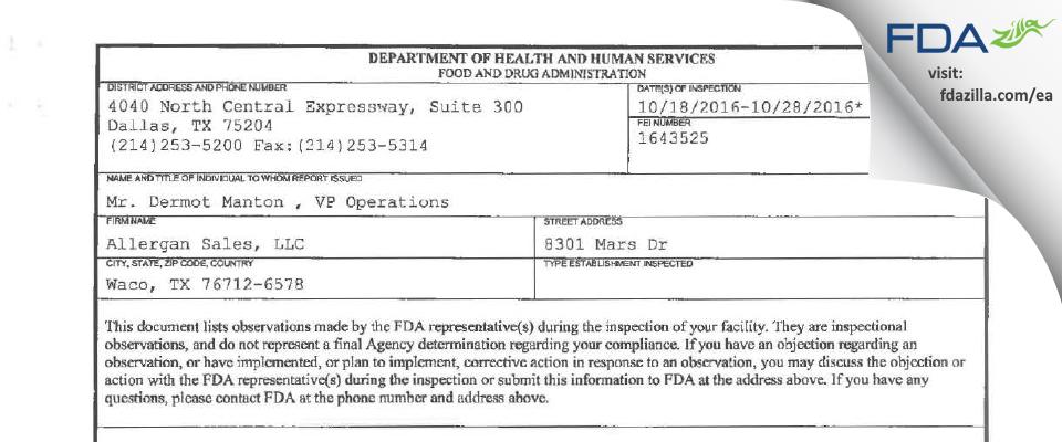 Allergan Sales FDA inspection 483 Oct 2016