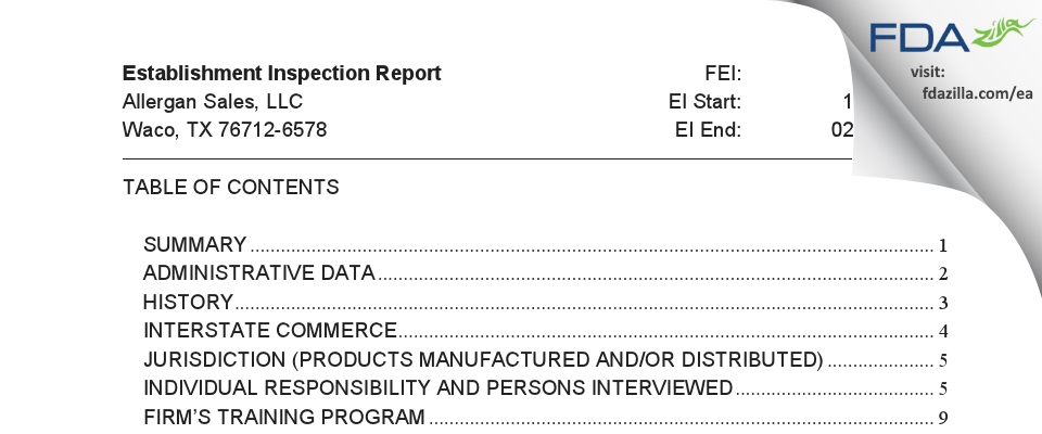 Allergan Sales FDA inspection 483 Feb 2019