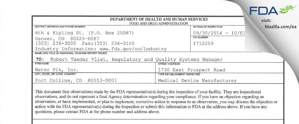 Water Pik FDA inspection 483 Oct 2014