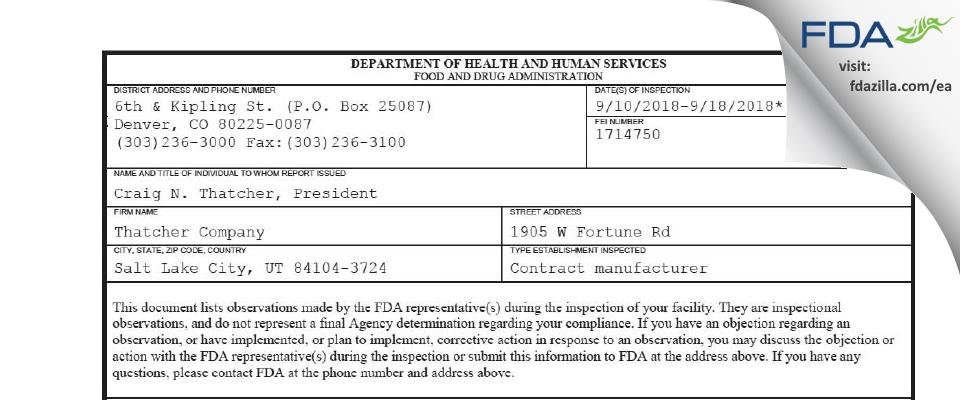 Thatcher Company FDA inspection 483 Sep 2018