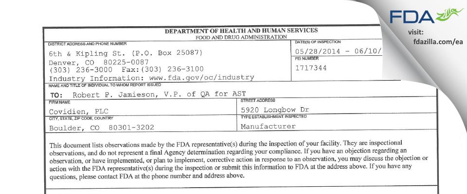 Covidien, PLC FDA inspection 483 Jun 2014