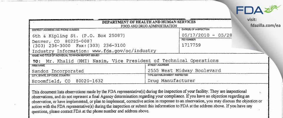 Sandoz FDA inspection 483 May 2010