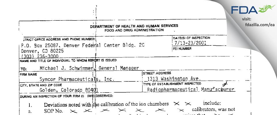 Cardinal Health 418 FDA inspection 483 Jul 2001
