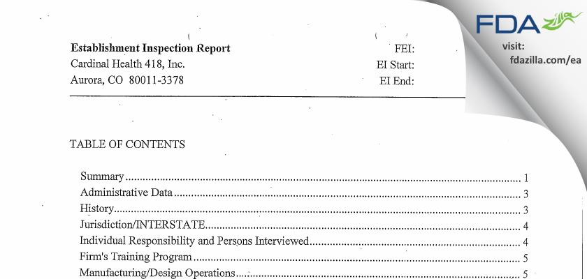Cardinal Health 418 FDA inspection 483 Jun 2014