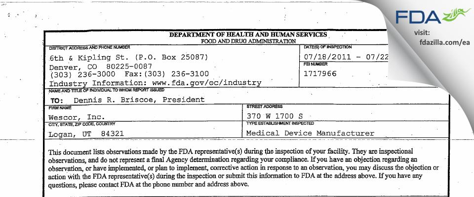 ELITechGroup FDA inspection 483 Jul 2011