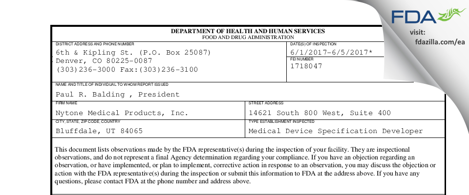 Nytone Medical Products FDA inspection 483 Jun 2017