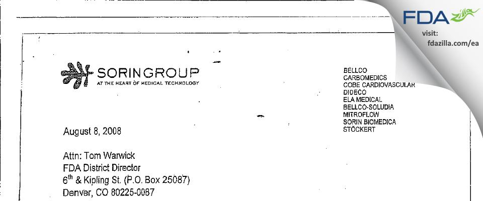 Sorin Group USA FDA inspection 483 Jul 2008