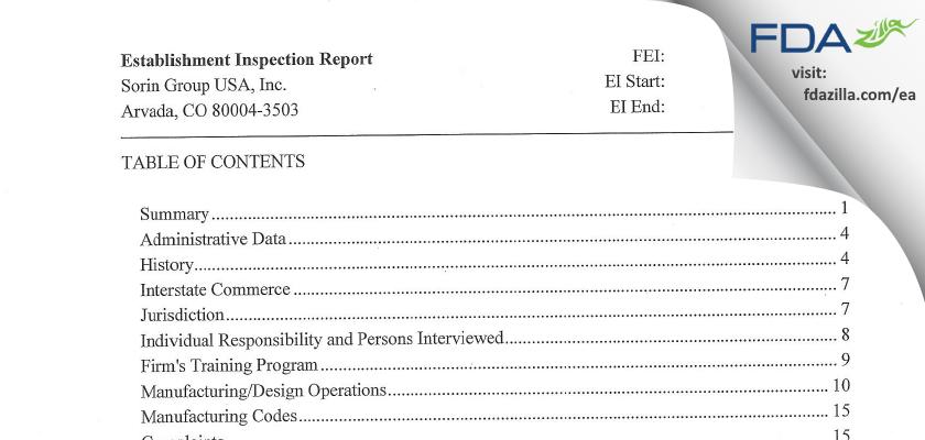 Sorin Group USA FDA inspection 483 Sep 2015