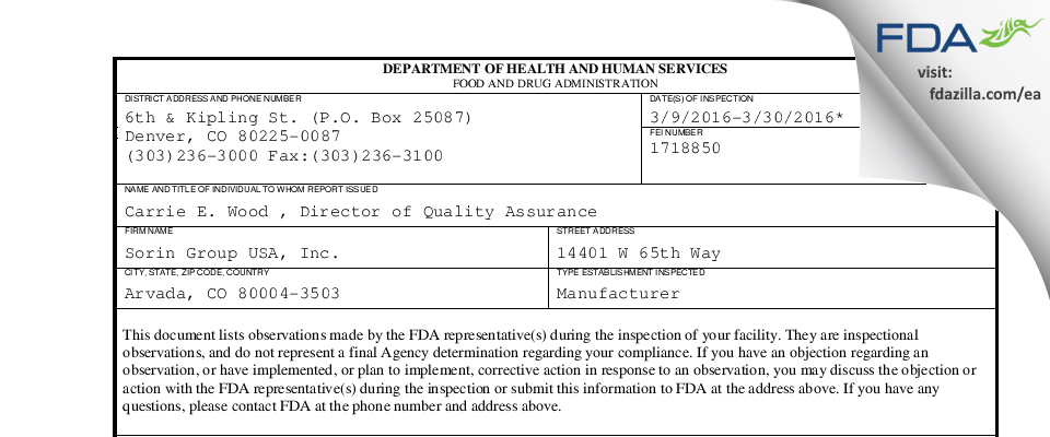 Sorin Group USA FDA inspection 483 Mar 2016
