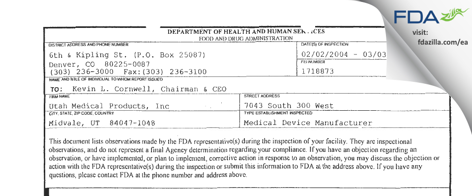 Utah Medical Products FDA inspection 483 Mar 2004