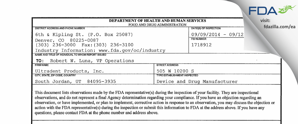 Ultradent Products FDA inspection 483 Sep 2014