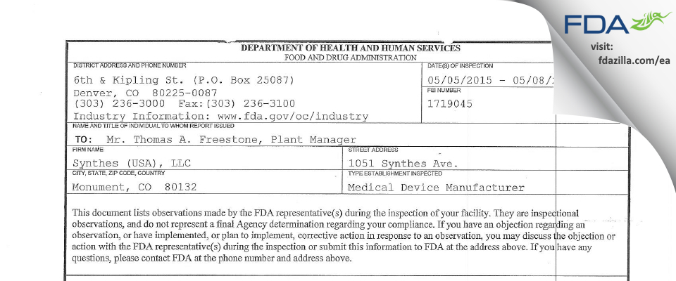 Synthes (USA) FDA inspection 483 May 2015