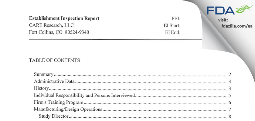 CARE Research FDA inspection 483 Aug 2012