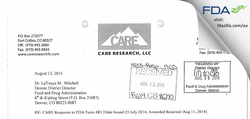 CARE Research FDA inspection 483 Jul 2014