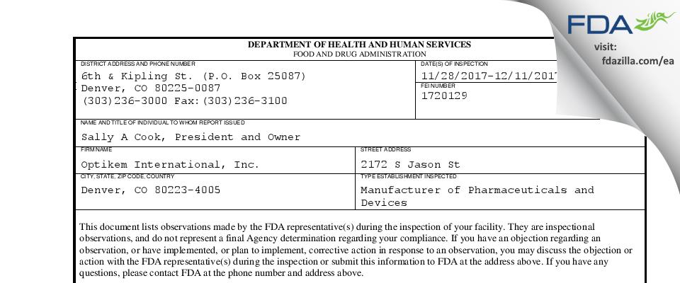 Optikem International FDA inspection 483 Dec 2017