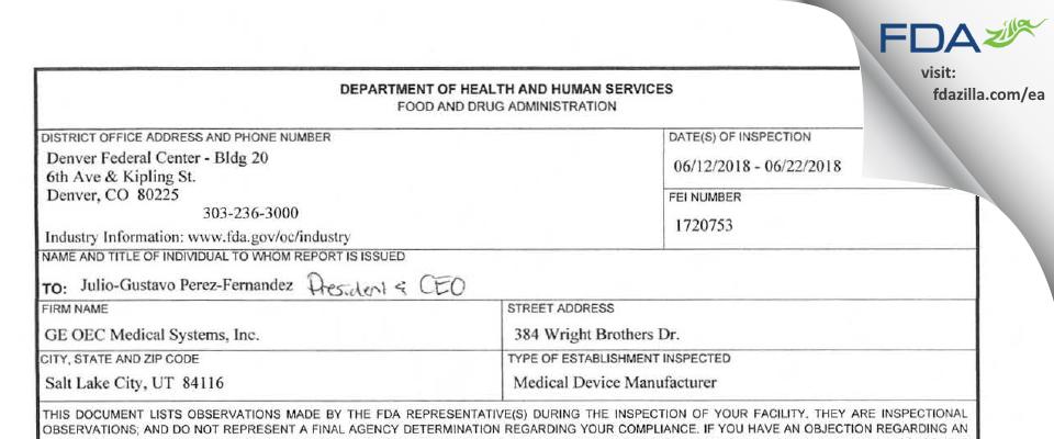 GE OEC Medical Systems FDA inspection 483 Jun 2018