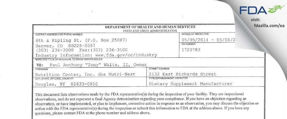 Nutrition Center dba Nutri-West FDA inspection 483 May 2014