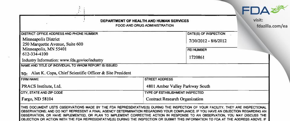 PRACS Institute FDA inspection 483 Aug 2012