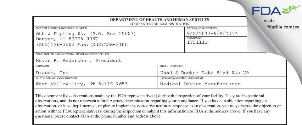 Diacor FDA inspection 483 Sep 2017
