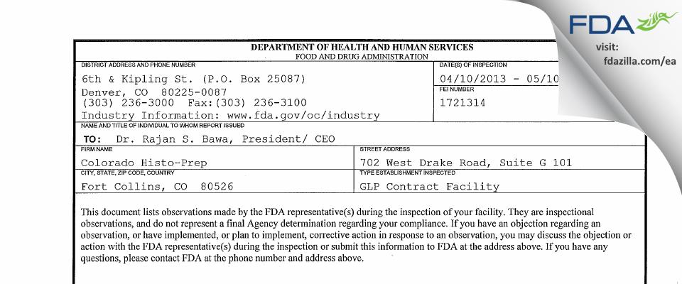 Colorado Histo-Prep FDA inspection 483 May 2013