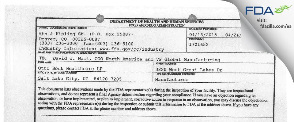Otto Bock Healthcare LP FDA inspection 483 Apr 2015
