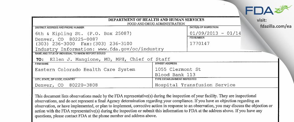 Eastern Colorado Health Care System FDA inspection 483 Jan 2013