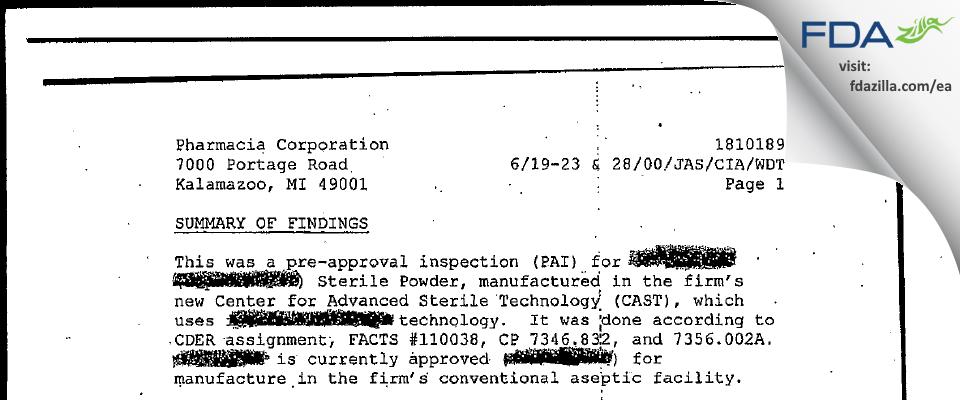Pharmacia & Upjohn Company FDA inspection 483 Jun 2000