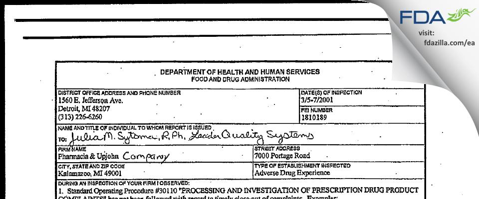 Pharmacia & Upjohn Company FDA inspection 483 Mar 2001