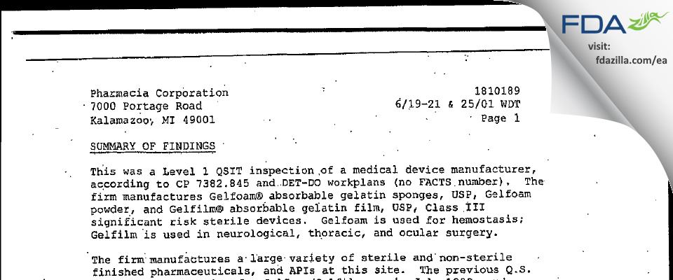 Pharmacia & Upjohn Company FDA inspection 483 Jun 2001