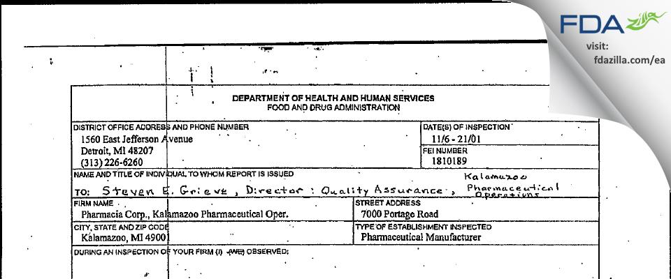 Pharmacia & Upjohn Company FDA inspection 483 Nov 2001