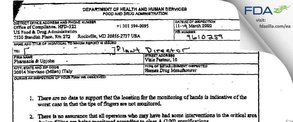 Pharmacia & Upjohn Company FDA inspection 483 Mar 2002