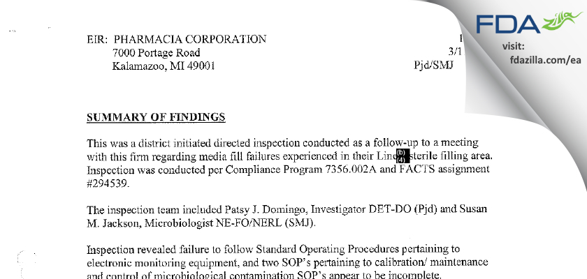 Pharmacia & Upjohn Company FDA inspection 483 Mar 2002